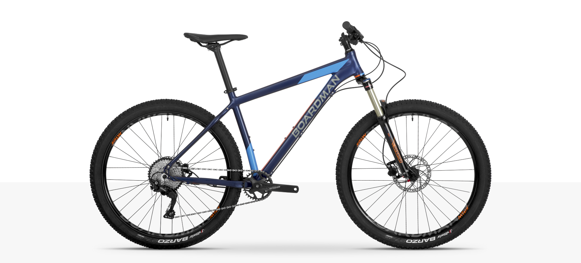 Boardman MHT 8.6 Hardtail Mountain Bike in Blue and Orange