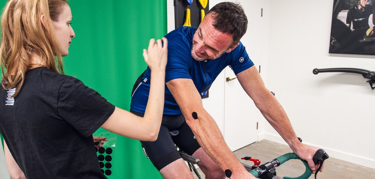 Cyclist being assessed in Boardman Performance Centre BikeFit session