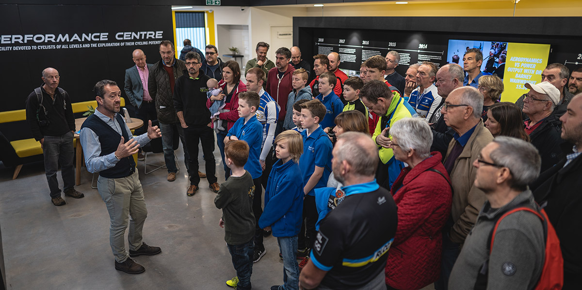 Chris Boardman Leads a Club Tour of the Boardman Performance